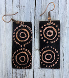 black rectangle earring aborigine design etched into piece