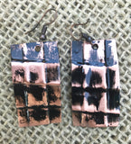 black rectangle form folded copper  1 1/2 inch earring