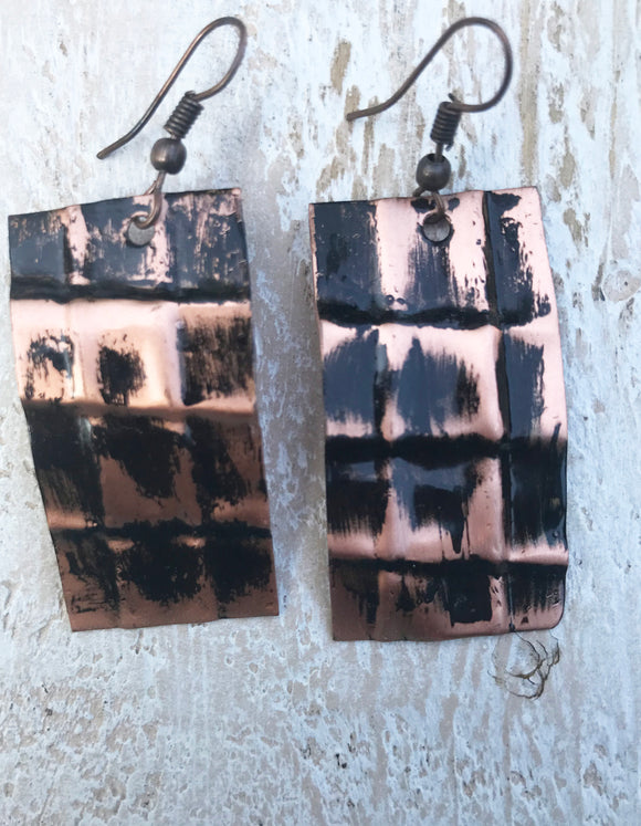 black rectangle form folded 1 1/2 inch copper earring