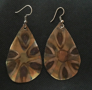 teardrop large earring with flower flamed into the copper