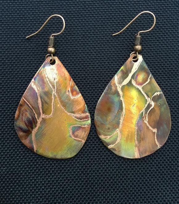 Carefree Teardrop Copper Earrings