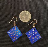 Cobalt Dots & Dashes Small Square Earrings