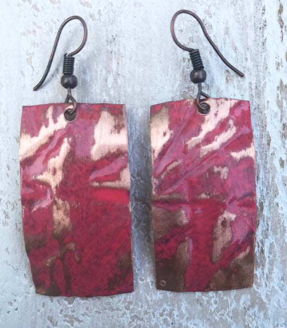 Coral rectangle form folded copper earring