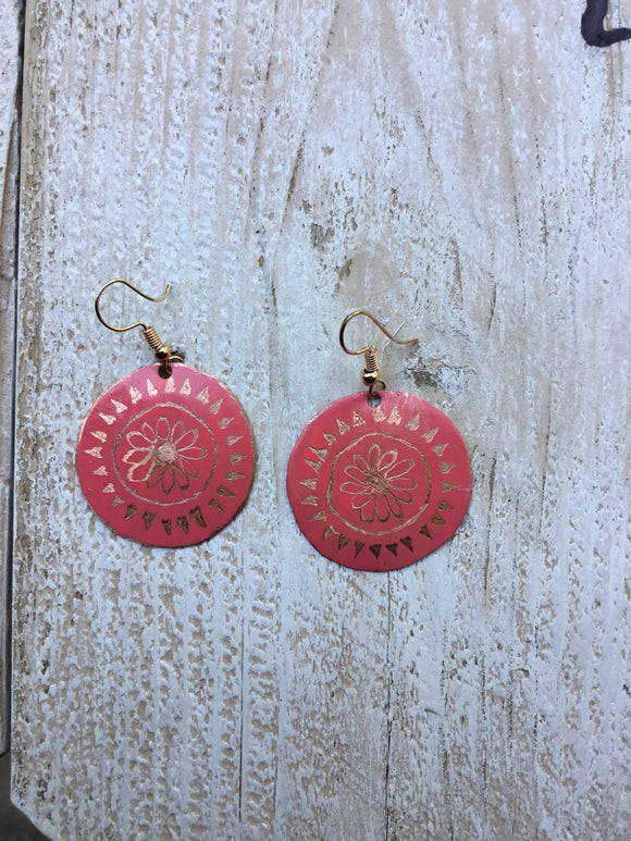 Coral Colored Etched Flower Earrings
