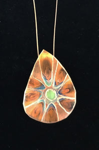 Teardrop etched flower  blossom etched around the flower for copper to shine through