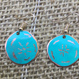 Jade Colored Pinwheel Circle Earrings