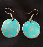 jade flower etched small round earrings