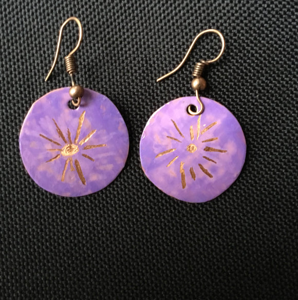 starburst on lilac colored small round earring
