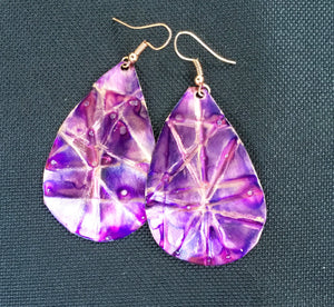 purple large teardrop earrings that are form-folded