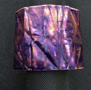 purple 2 inch form-folded copper cuff
