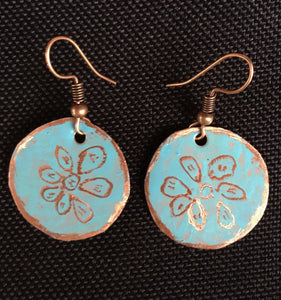 Turquoise Flower Small  Round Earrings