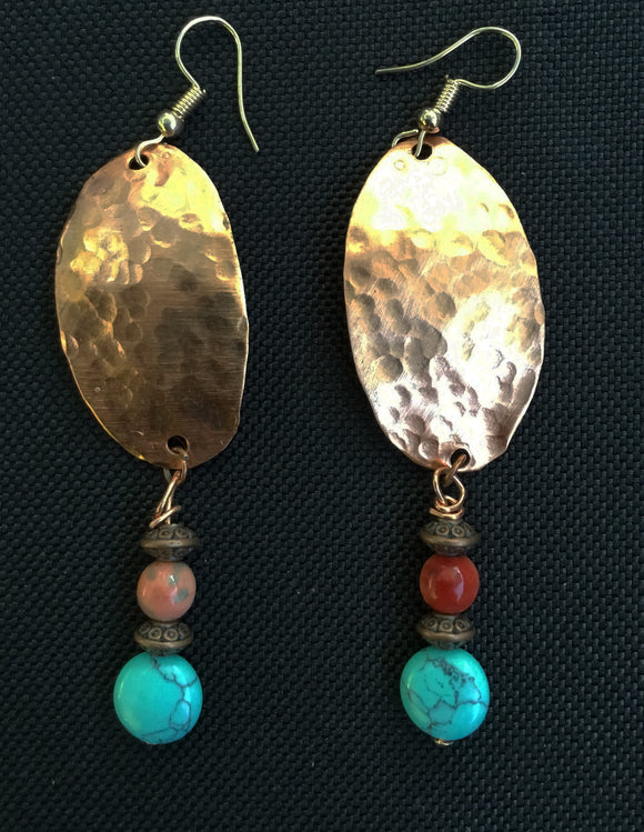 hammered oval with jasper and turquoise beading at bottom