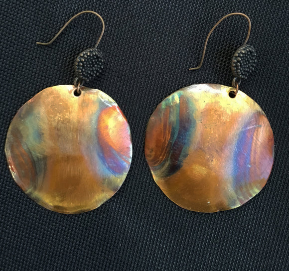 flamed with striping pattern on each side of the round domed earring