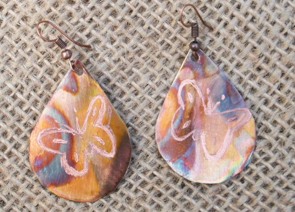 butterfly teardrop etched flame-painted copper 1 1/4 earring