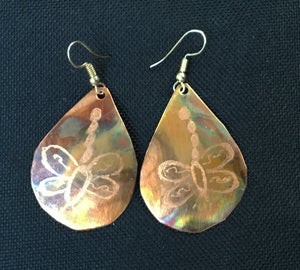 Teardrop flamed copper with dragonfly etched into it