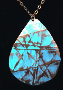 Turquoise  colored patina wash copper large 3 inches in length necklace