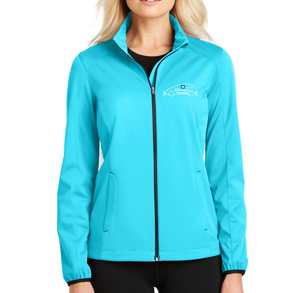 f5d2a3d8 EMBROIDERED GM Active Chassis Ladies Active Soft Shell Full Zip Jacket