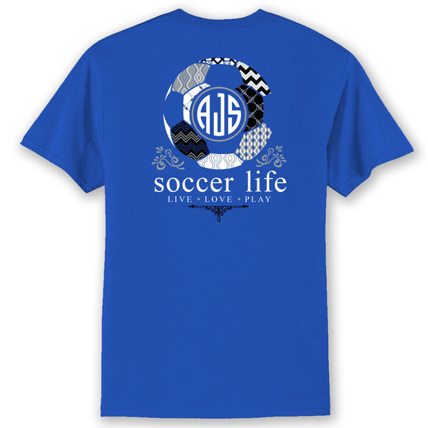 Soccer Life TEAM COLORS Custom Monogram T-Shirt