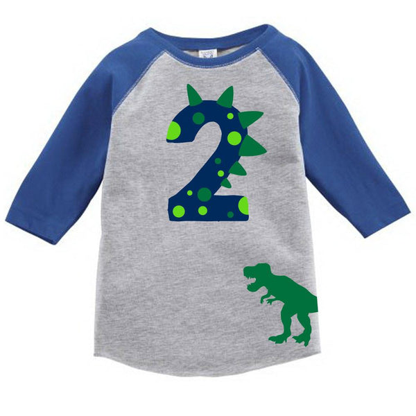 Dinosaur Birthday Custom Raglan Toddler Shirt With Name On Back