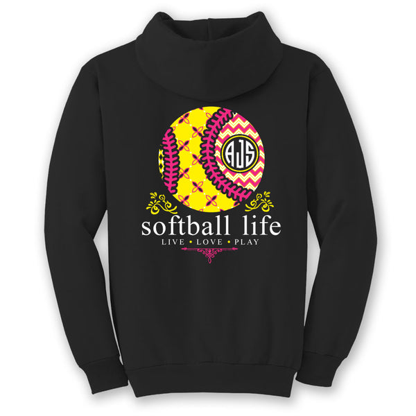 Softball Life Custom Monogram Hoodie