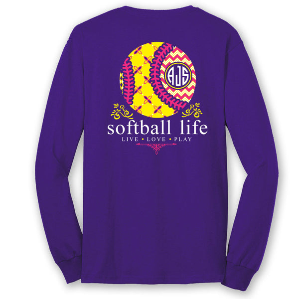 Softball Life Custom Monogram Long Sleeve T-Shirt