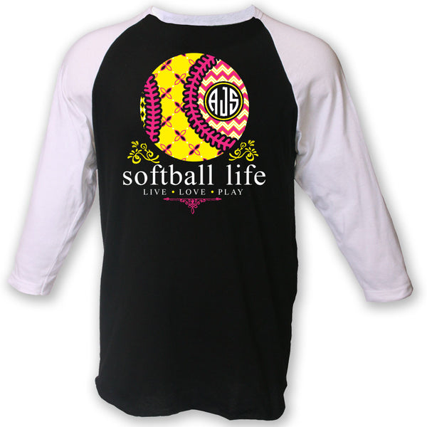 Softball Life Custom Monogram Raglan