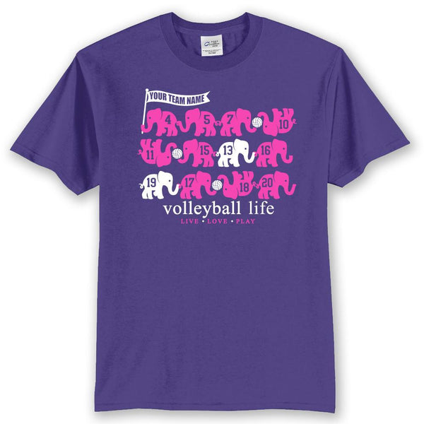 Volleyball Life Elephants Custom Team Numbers T-Shirt