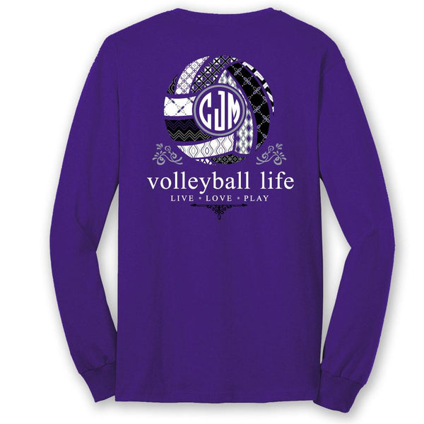 *Volleyball Life TEAM COLORS Custom Monogram Long Sleeve T-Shirt