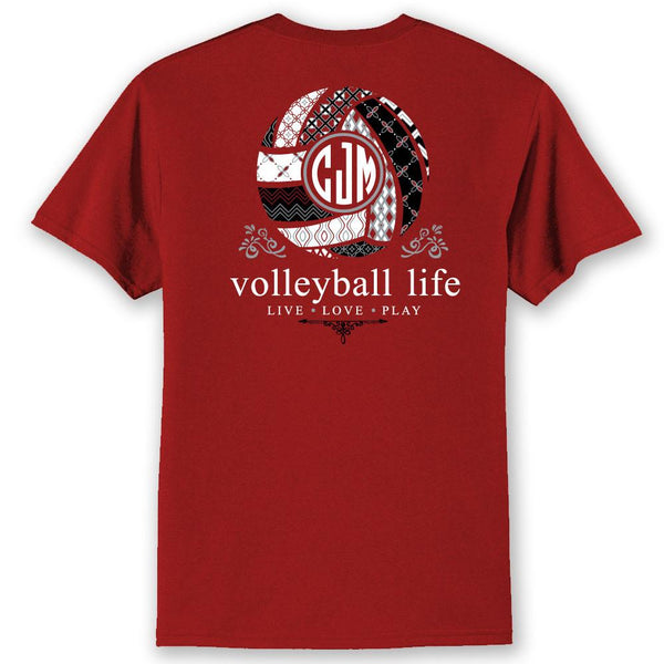 *Volleyball Life TEAM COLORS Custom Monogram T-Shirt