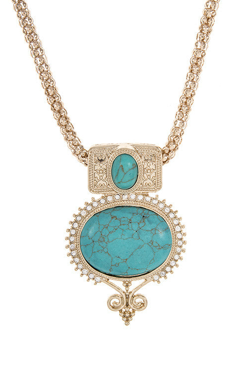 Fresh Gold and Turquoise Statement Necklace – Bijou Galleria WH82