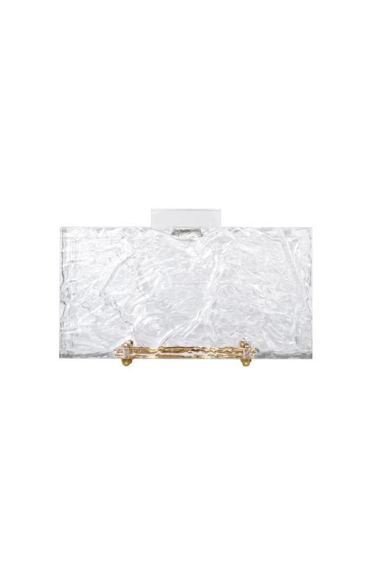 Classic Crushed Ice Clutch Clear with Gold Hardware