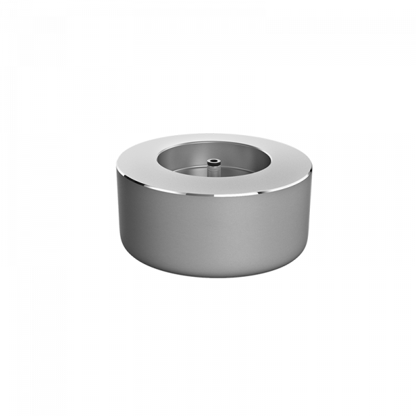 Silver, circular charging base for the Hyperice Hypervolt
