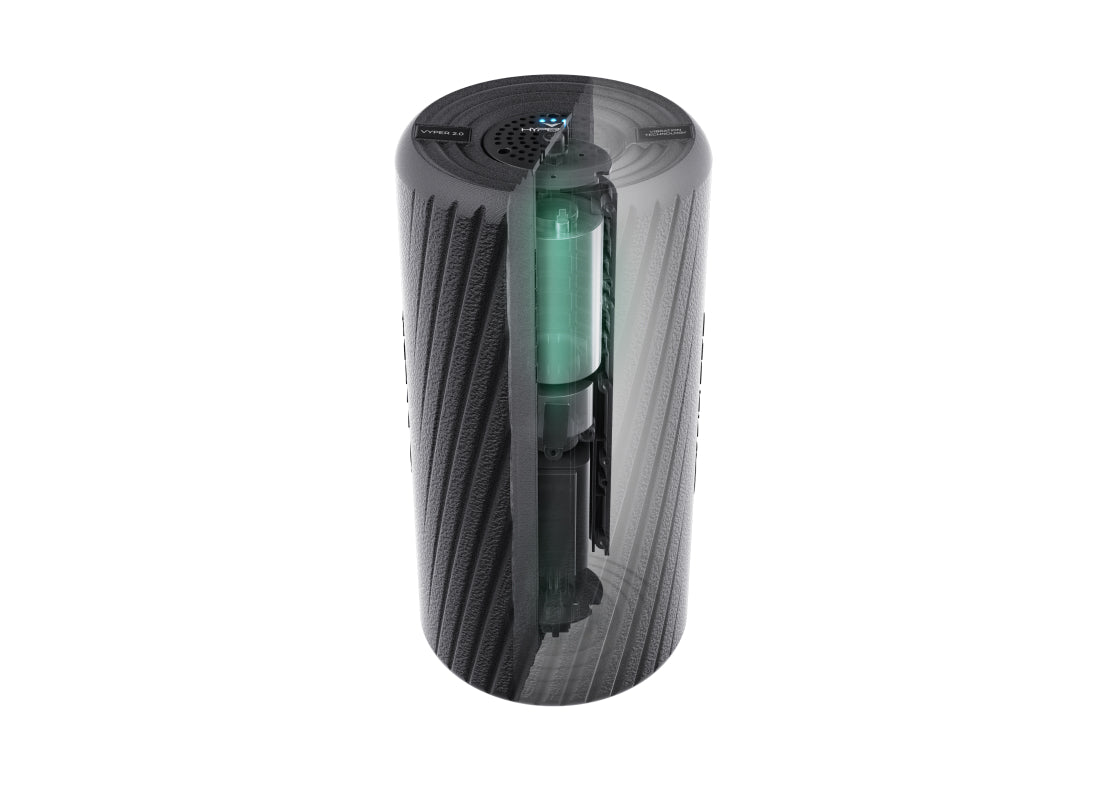 ithe cylinder shaped  black Hyperice Vyper with a notch cut out to show the insdie of the device