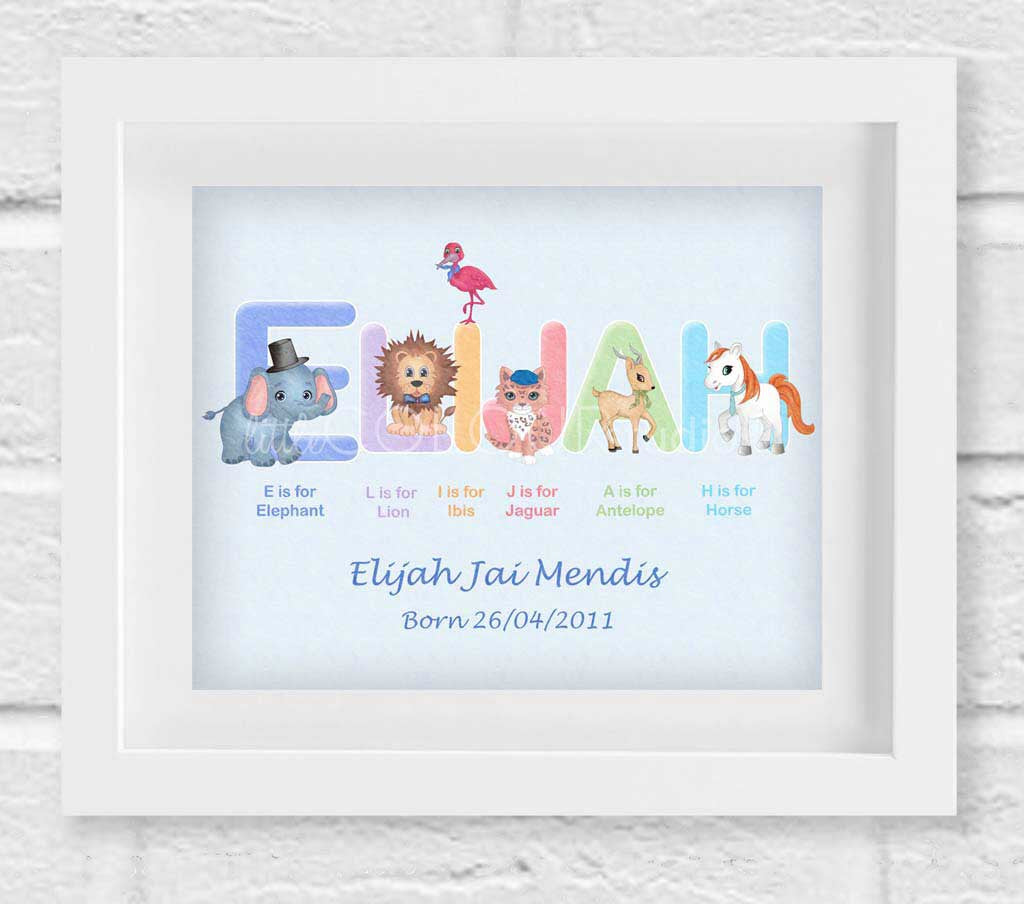 Blue Personalised Animal Name Art With Multi Coloured Name