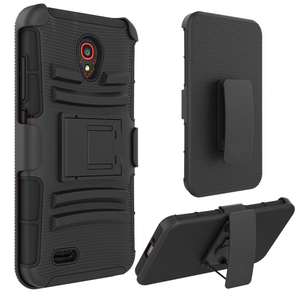 Alcatel One Touch Conquest 7046T Armor Belt Clip Holster Case Black