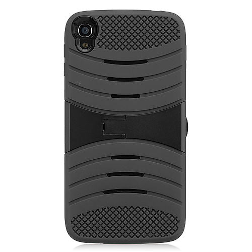 Alcatel One Touch IDOL 3 Hybrid Silicone Case Cover Stand Black