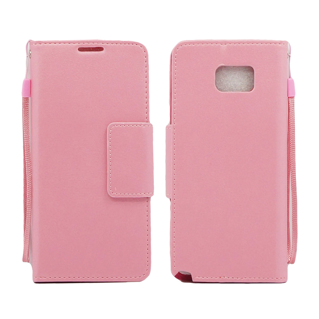 Samsung Galaxy Note 5 Folio Leather Wallet Pouch Case Cover Pink