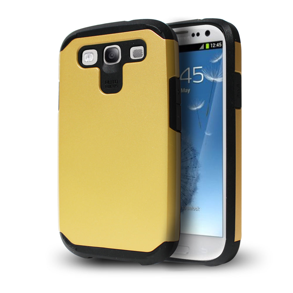 Samsung Galaxy S3 TPU Slim Rugged Hard Case Cover Gold