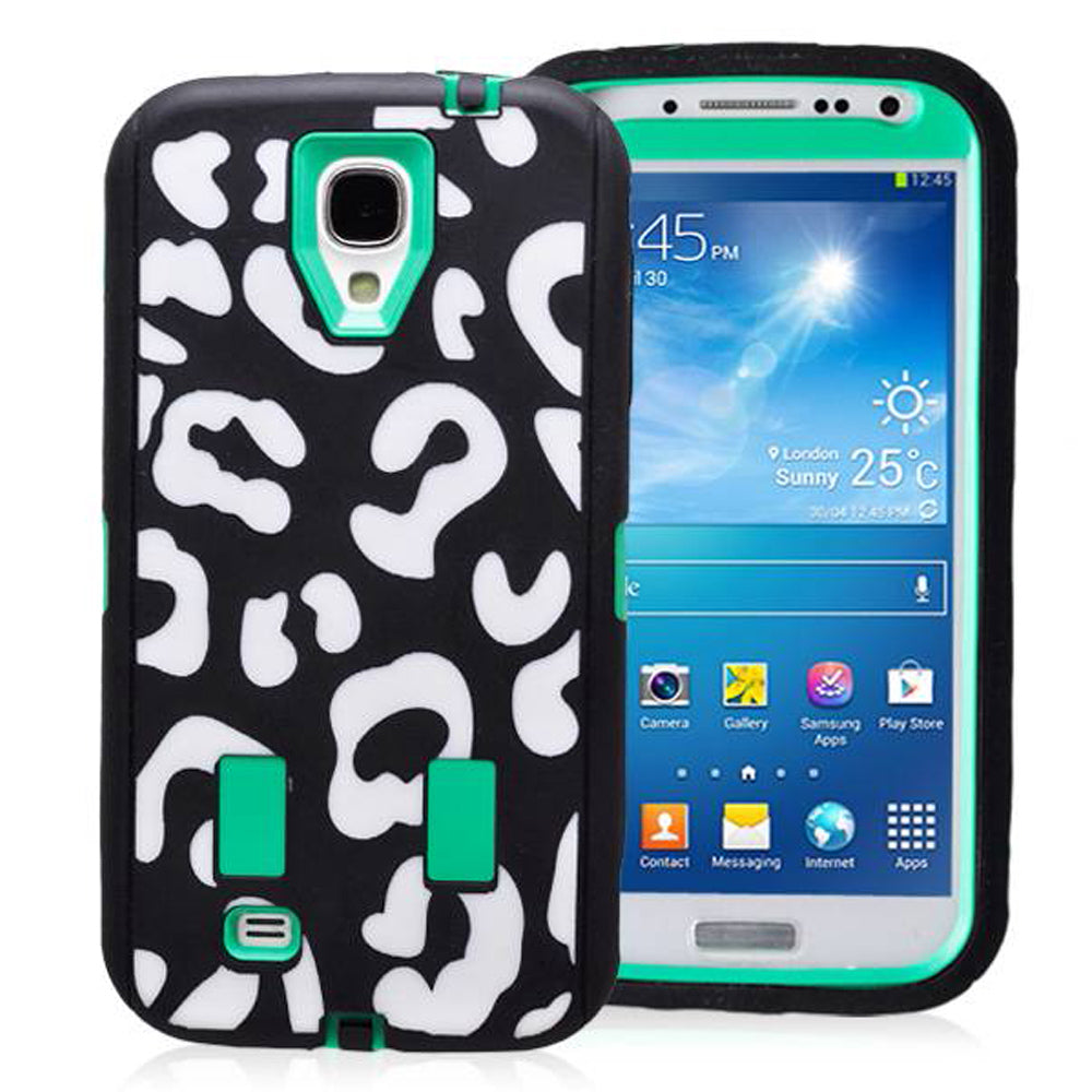 Samsung Galaxy S4 Leopard Rubber Hard Full Body Case Cover Green