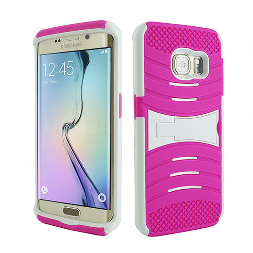 Samsung Galaxy S6 Edge Hybrid Silicone Case Cover Stand Pink