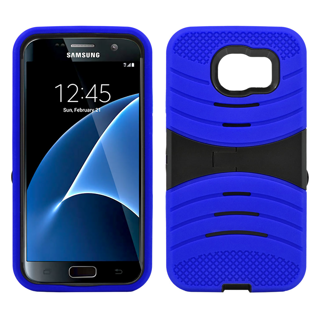 Samsung Galaxy S7 Hybrid Silicone Case Cover Stand Blue