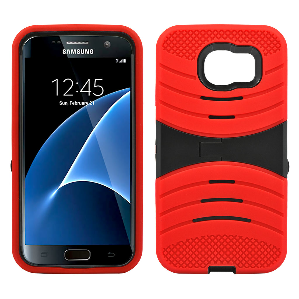 Samsung Galaxy S7 Hybrid Silicone Case Cover Stand Red