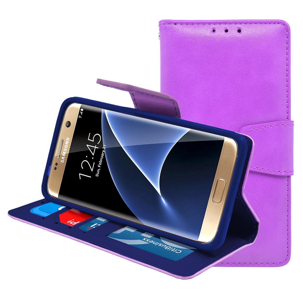 Samsung Galaxy S7 Folio Leather Wallet Pouch Case Cover Purple