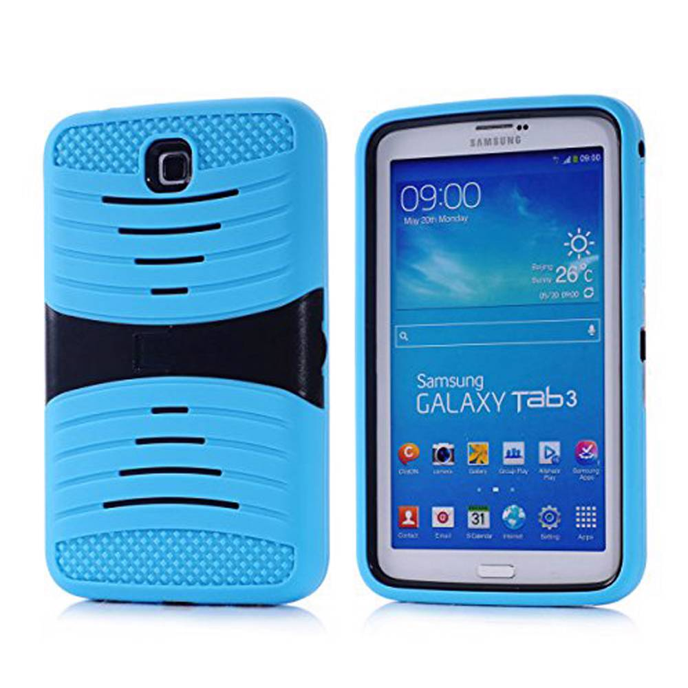 Samsung Galaxy Tab 3 7.0 / P3200 Hybrid Silicone Case Cover Stand Light Blue