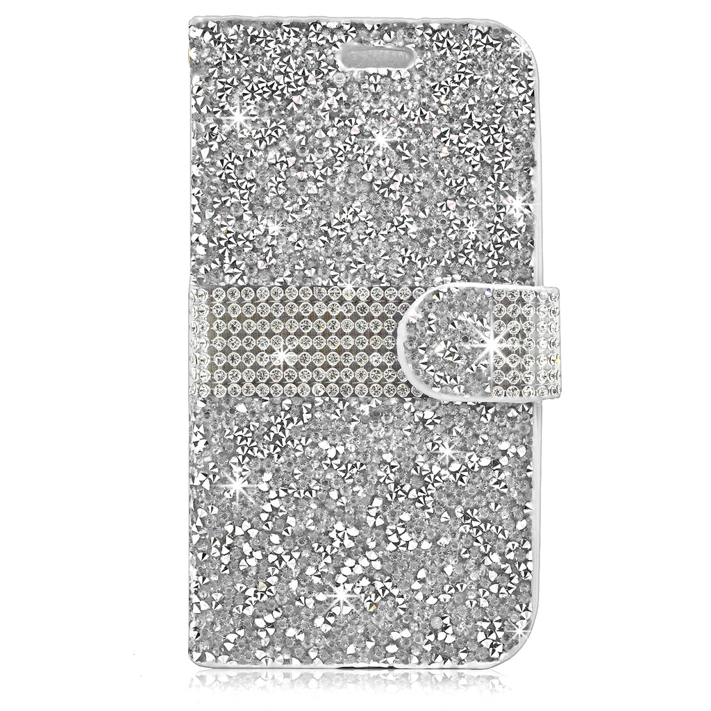 ZTE Grand X3 Diamond Leather Wallet Case Cover silver