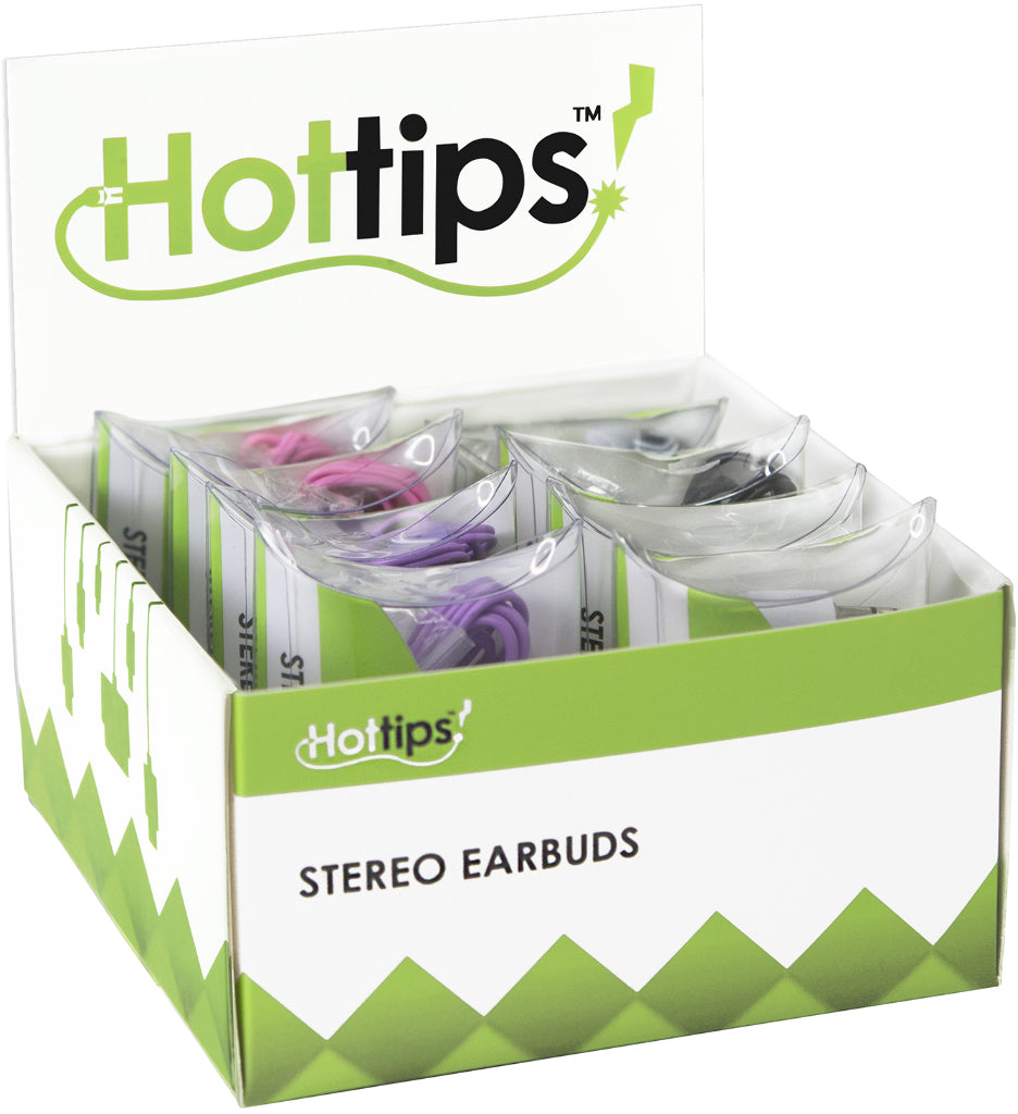 Hottips Tray Pack Stereo Ear Bud Assorted 8-count Case Pack 8