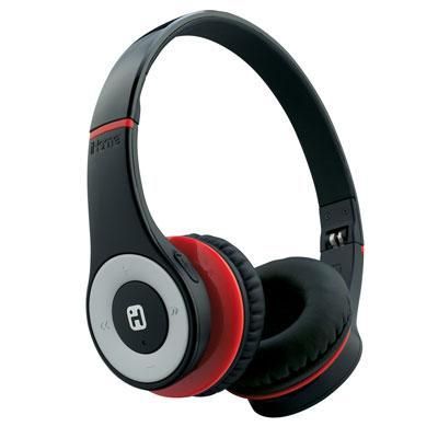 BT Headphone w Pouch Black Red
