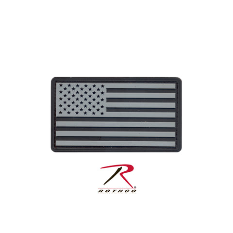 U.S. Flag Black and Silver PVC Patch with Hook Backing  $6.00