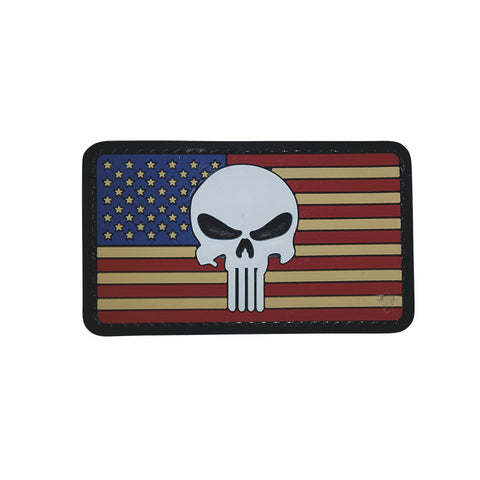 U.S. Flag with Punisher PVC Patch with Hook Backing $6.00