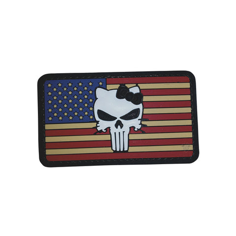 U.S. Flag with Punisher Kitty PVC Patch with Hook Backing  $6.00